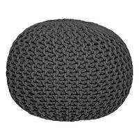 LABEL51 Pouf tricoté Coton M Anthracite