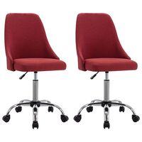vidaXL Chaises de bureau roulantes 2 pcs Rouge bordeaux Tissu