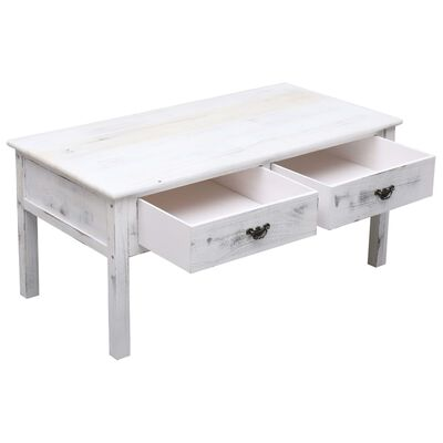 vidaXL Table basse Antique Blanc 100 x 50 x 45 cm Bois