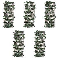 vidaXL Clôtures à treillis de saule 5pcs feuille artificielle 180x60cm