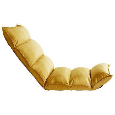 vidaXL Chaise pliable de sol Jaune moutarde Tissu