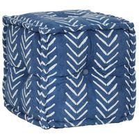 vidaXL Pouf Cube en coton avec motif fait à la main 40 x 40 cm Indigo