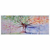 vidaXL Ensemble de tableau sur toile Arbre Multicolore 200x80 cm