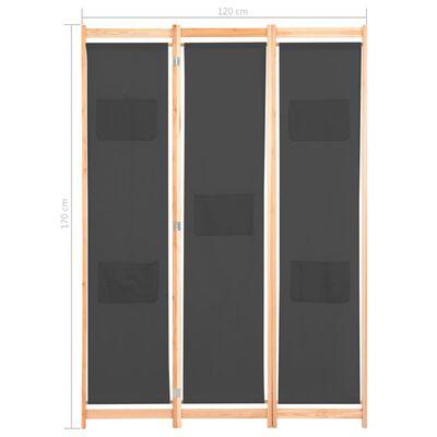 vidaXL Cloison de séparation 5 panneaux Gris 200 x 170 x 4 cm Tissu
