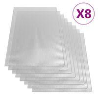 vidaXL Feuilles de polycarbonate 8 pcs 4 mm 121x60 cm