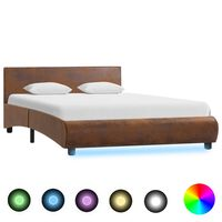 vidaXL Cadre de lit avec LED Marron Tissu 120 x 200 cm