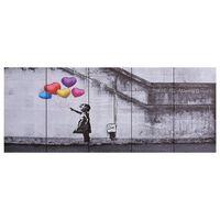 vidaXL Jeu de tableau sur toile Enfant et ballons Multicolore 200x80cm