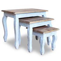 vidaXL Ensemble de tables gigognes 3 pcs Bois de récupération massif