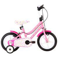 vidaXL Vélo pour enfants 12 pouces Blanc et rose