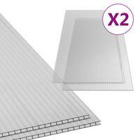 vidaXL Feuilles de polycarbonate 2 pcs 6 mm 150x65 cm
