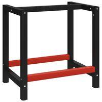 vidaXL Cadre de banc de travail Métal 80x57x79 cm Noir et rouge