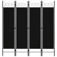 vidaXL Cloison de séparation 4 panneaux Noir 160 x 180 cm