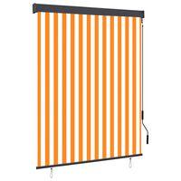 vidaXL Store roulant d'extérieur 140x250 cm Blanc et orange