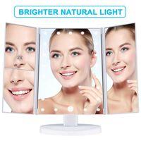 Miroir de maquillage avec éclairage et trois angles Blanc