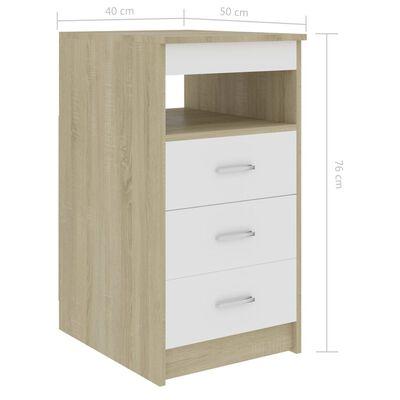 vidaXL Armoire à tiroirs Blanc et chêne sonoma 40x50x76 cm Aggloméré