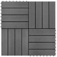 vidaXL Carreaux de terrasse WPC 30x30 cm 11 pcs 1 m2 Gris