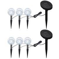 vidaXL Lampes de jardin à LED 6pcs Ancrage à piquet et panneau solaire