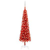 vidaXL Arbre de Noël mince avec LED et boules Rouge 240 cm