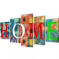 Set de toiles murales imprimées Home coloré 100 x 50 cm