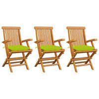 vidaXL Chaises de jardin avec coussins vert vif 3 pcs Bois de teck