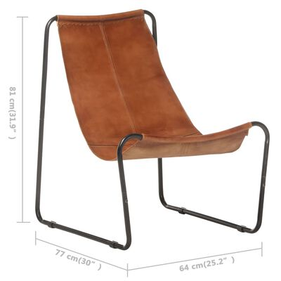 vidaXL Chaise de relaxation Marron Cuir véritable