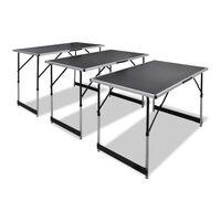 vidaXL Table à coller 3 pcs pliable Hauteur réglable