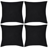 vidaXL Housses de coussin 4 pcs Coton Noir 50x50 cm