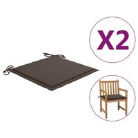 vidaXL Coussins de chaise de jardin 2 pcs Taupe 50x50x4 cm