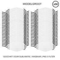 50 Masques Visage Vièrges Pour Sublimation De Taille Moyenne