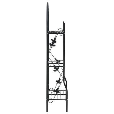 vidaXL Support à plantes 3 niveaux Noir 52x28x128 cm Fer