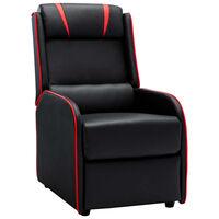 vidaXL Chaise inclinable Noir et rouge Similicuir
