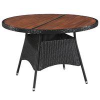 vidaXL Table de jardin 115x74cm Résine tressée et bois d'acacia solide