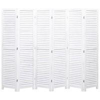vidaXL Cloison de séparation 6 panneaux Blanc 210x165 cm Bois