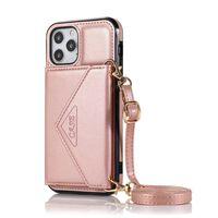 Etui portefeuille iPhone 12 Pro Max en cuir TPU / PU Or rose
