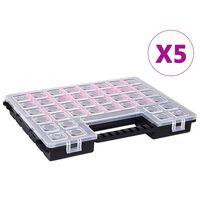 vidaXL Boîtes d'assortiment 5 pcs 385x283x50 mm Plastique