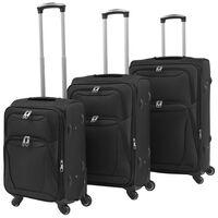 vidaXL Ensemble de valises souples 3 pcs Noir