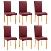 vidaXL 6 pcs Chaises de salle à manger Rouge Similicuir