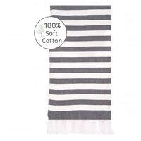 Serviette de plage 100x180 cm coton gris rayé