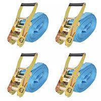 vidaXL Sangle d'arrimage à cliquet 4 pcs 4 tonnes 8 m x 50 mm Bleu