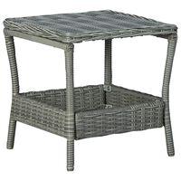 vidaXL Table de jardin Gris clair 45x45x46,5 cm Résine tressée