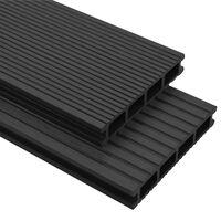vidaXL Panneaux de terrasse WPC avec accessoires 26m² 2,2m Anthracite