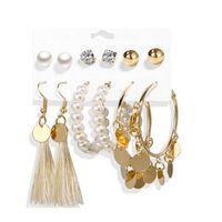 6 paires de boucles d'oreilles, différents modèles - or / perles