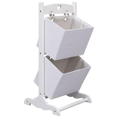 vidaXL Support à panier 2 niveaux Blanc 35x35x72 cm Bois