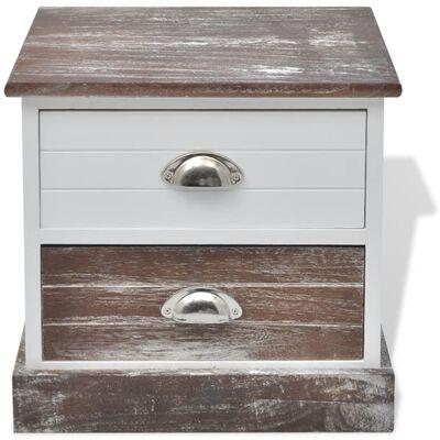 vidaXL Table de chevet 2 pcs Marron et Blanc