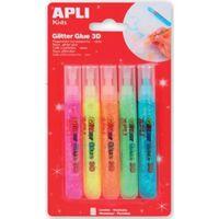 Colle Paillettes 5 tubes Glitter Fluo 3D