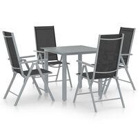 vidaXL Ensemble à dîner de jardin 5 pcs Aluminium Argenté et noir