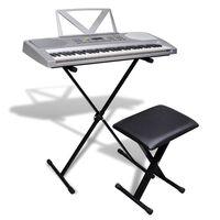Clavier à touche électrique+support ajustable de clavier et tabouret