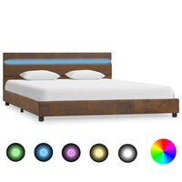 vidaXL Cadre de lit avec LED Marron Tissu 140 x 200 cm