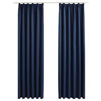 vidaXL Rideaux occultants avec crochets 2 pcs Bleu 140x225 cm