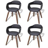 vidaXL Chaises de salle à manger 4 pcs Noir Bois courbé et similicuir